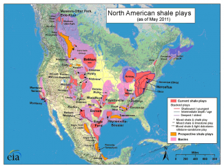 North American shale plays. Source: U.S. Energy Information Administration (based on data from various published studies; Canada and Mexico plays from ARI)